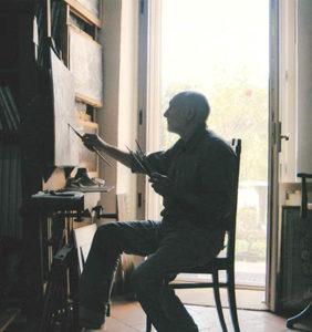 L'artista al lavoro nel proprio in studio nel 2003